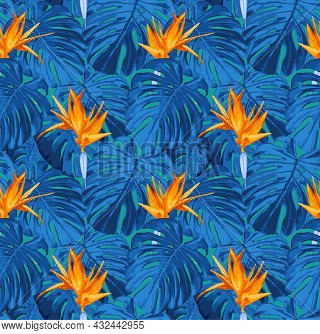 Vector Seamless Pattern With Tropical Flowers. Floral Background In Trendy Fantasy Colors. Texture W