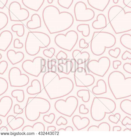 Pink Hearts Seamless Pattern. Valentines Day Background. Love Romantic Theme. Subtle Vector Abstract