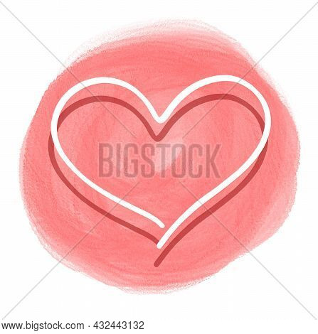Stiker Love, Heart One Line, Isolated Simple Drawing On Watercolor Brush Background