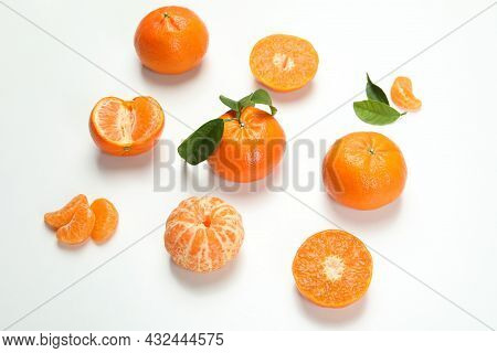 Flat Lay With Mandarins On White Background