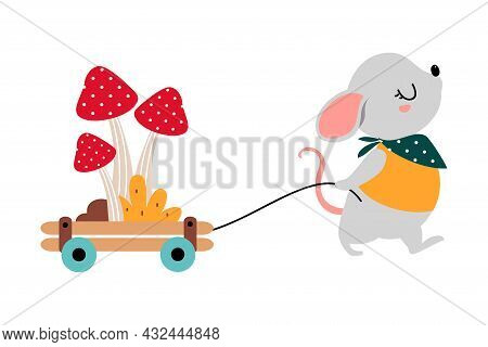 Cute Grey Mouse As Forest Animal Pulling Trolley With Mushrooms Vector Illustration