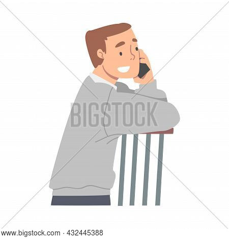 Excited Male Receiving Good News Speaking By Phone And Smiling Happily Vector Illustration