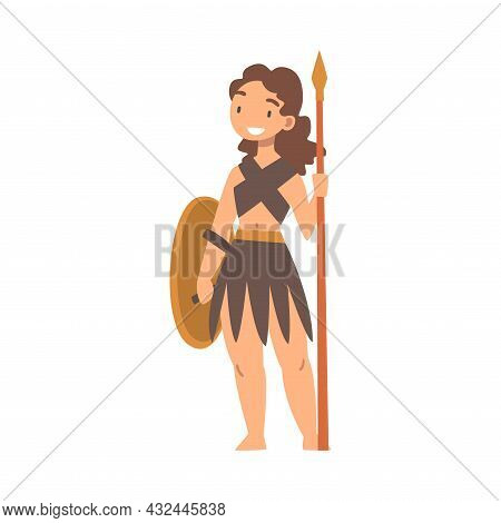Greek Woman Warrior Or Gladiator Holding Shield And Spear Vector Illustration
