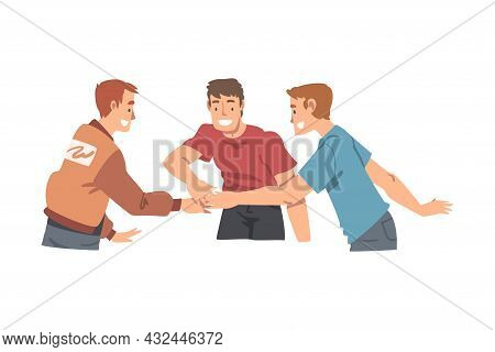 Happy Man Character With Their Hands In Stack Putting Them Together Showing Unity And Solidarity Vec