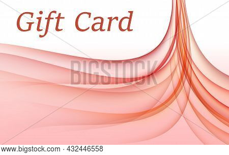 Contrast Red, White Gift Card Design. Abstract Pattern Of Curved Transparent Strips. Vector Backgrou
