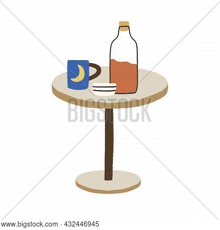 Cold Drink In Corked Glass Bottle Of Juice, Tea Cup, Mug On Coffee Table. Homemade Refreshing Lemona