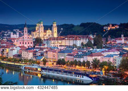 Passau Skyline, Germany. Aerial Cityscape Image Of Passau Skyline, Bavaria, Germany At Twilight Blue