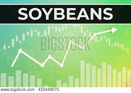 Price Change On Trading Soybeans Futures On Green Finance Background From Graphs, Charts, Columns, C