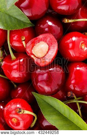 Cherries Background. Fresh Berries With Leaves. Fruit Background.