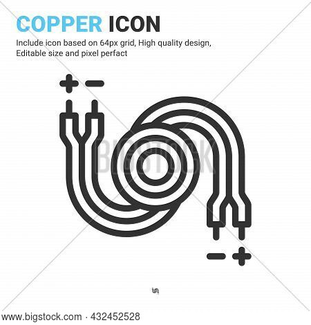 Copper Icon Vector With Outline Style Isolated On White Background. Vector Illustration Cable, Wirin