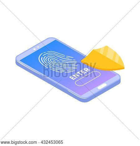 Cyber Security Biometrics Identification Icon With Fingerprint Scan On Smartphone Isometric Vector I