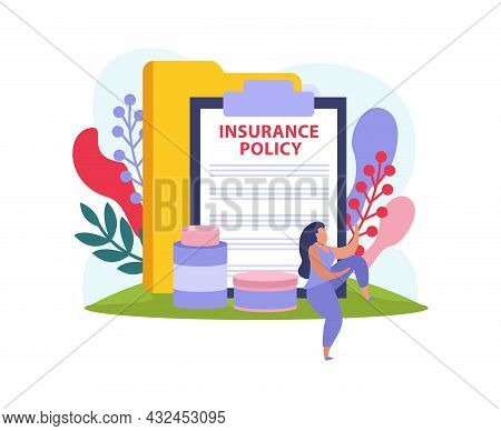 Flat Colorful Health Insurance Icon With Contract Folder Medication And Female Character Vector Illu