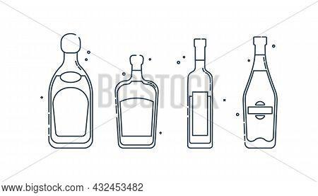 Bottle Tequila Vodka Liquor Martini Line Art In Flat Style. Restaurant Alcoholic Illustration For Ce