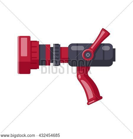 Red And Black Fire Hose Nozzle On White Background Cartoon Vector Illustration