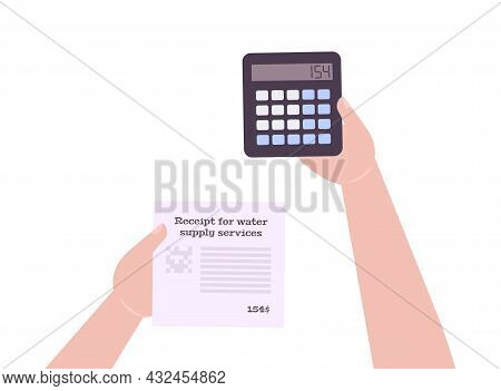 Utility Bill Flat Icon With Human Hands Holding Calculator And Receipt For Water Supply Service Vect