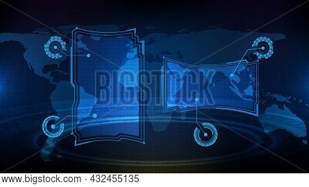 Abstract Futuristic Background Of Blue Glowing Technology Sci Fi Frame Hud Ui Element