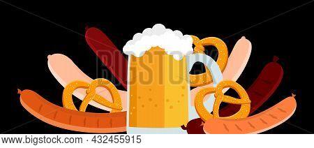 Poster Beer, Pretzel, Bavarian Sausages Vector In A Flat Style. Oktoberfest. Vector Illustration For