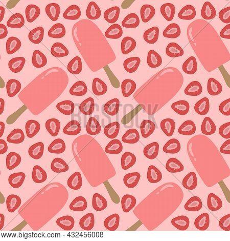 Vector Trendy Seamless Pattern With Bitten Ice Cream. Modern Summer Fashion Print Background