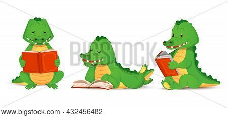 Cute Green Crocodile Reads An Interesting Book, Set Of Isolated Animal Alligator Figurines. Vector I