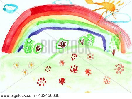 Joy Children\\\'s Drawing With Rainbow And Flowers On Hill. Kid\\\'s Drawing With Flowers And Colorf