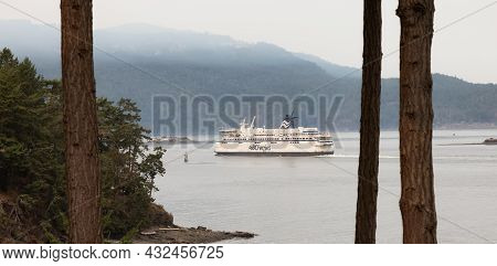 Victoria, Vancouver Island, British Columbia, Canada - August 13, 2021: Bc Ferries Boat Leaving The