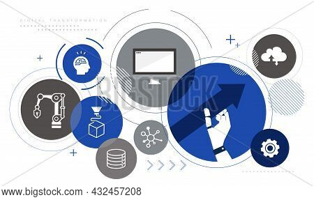 Manufacturing Industry,dx,digital Transformation Icon Image,white Isolated,vector Illustration