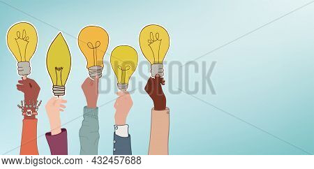 Arms Of Multicultural Business Men And Women Holding A Label That Forms A Light Bulb. Concept Of Asp