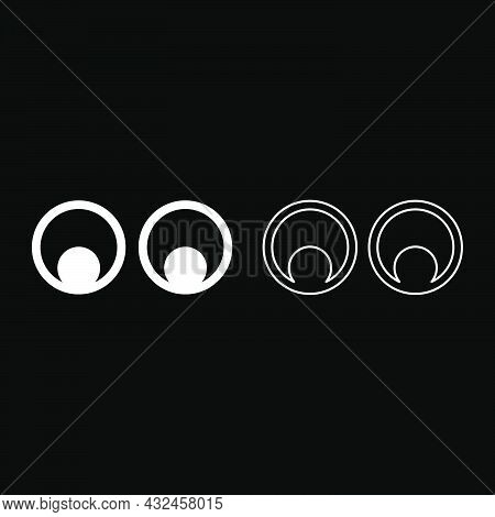 Eyes Look Concept Two Pairs Eye View Icon White Color Vector Illustration Flat Style Simple Image Se