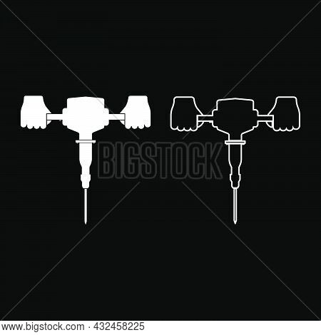 Jackhammer In Hand Holding Power Tool Use Arm Using Electric Instrument Icon White Color Vector Illu