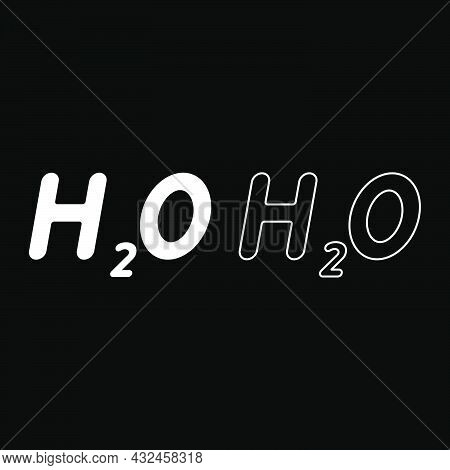 Chemical Formula H2o Water Icon White Color Vector Illustration Flat Style Simple Image Set