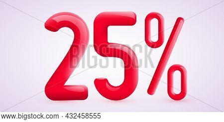 25 Percent Off. Discount Creative Composition. 3d Sale Symbol With Decorative Confetti. Sale Banner