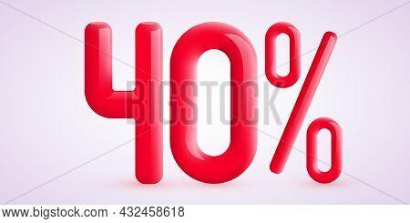 40 Percent Off. Discount Creative Composition. 3d Sale Symbol With Decorative Confetti. Sale Banner