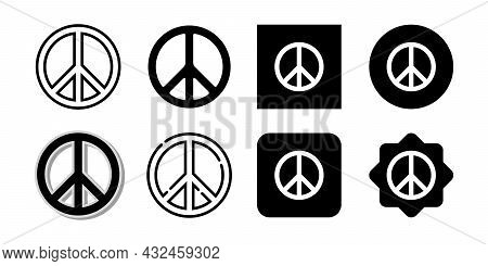 Set Of Peace Icon Isolated On White Background. Peace Icon Vector Design Illustration. Peace Icon Co