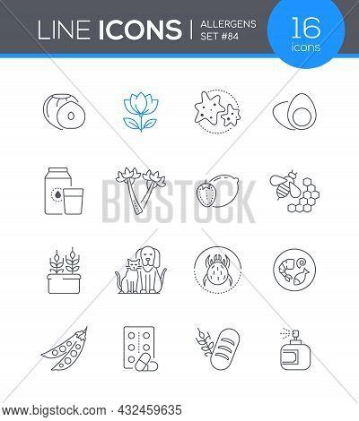 Allergens - Modern Line Design Style Icon Set