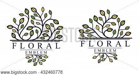 Luxury Classic Style Elegant Vector Floral Emblem Isolated On White Background, Boutique Or Hotel Lo