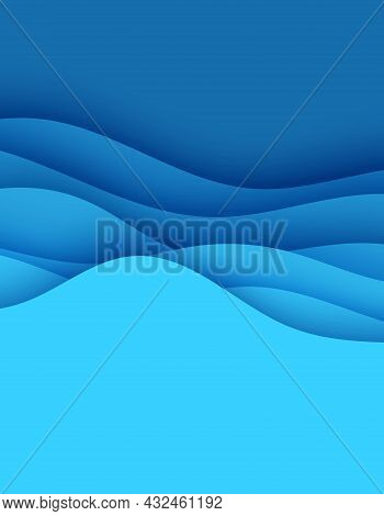 Abstract Background In Paper Cut Style. 3d Wallpaper With Cut Out Deep Waves Modern Cover. Blue Colo