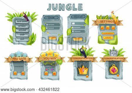 Ui Stone Game Design Vector Set, Rock User Interface Button, Jungle Menu Panel Kit, Login Signboard.