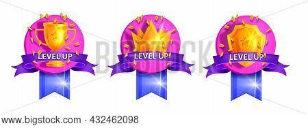 Level Up Ui Game Badge Set, Vector Bonus Rank Reward Icon Kit, Golden Cup, Royal Crown, Winner Shiel