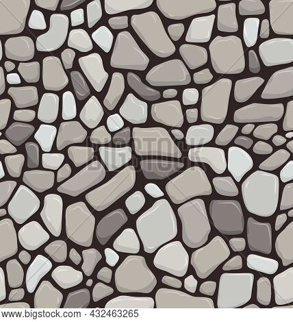 Seabed Seamless Pattern Realistic Stone Floor Texture Stonewall Background Vector Illustration
