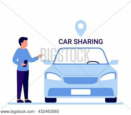 Car Sharing Service, Rent, Lease Auto. Man With Smartphone Standing Near Car. Mobile App For Share D