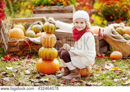 Cute Little Girl Playing With Pumpkins In Autumn Park. Autumn Activities For Children. Adorable  Lit