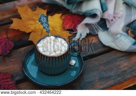 Autumn Still Life With A Cup And Marshmallow. Hot Coffee Or Cocoa With Marshmallows In A Beautiful C