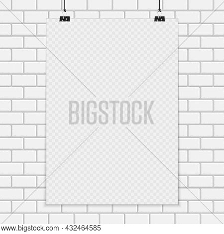 Transparent A4 Paper Mock Up In Realistic Style. Blank Sheet Of Paper On The White Brick Wall Backgr