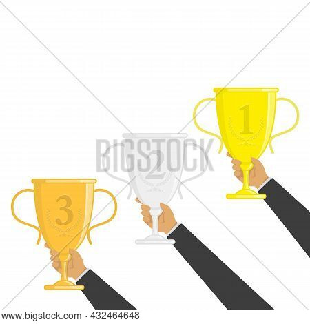 Winners Cup In Hands. Gold, Silver And Bronze Winners Cup In Flat Style. Collection Of Champions Cup