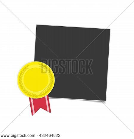 Vector Photo Frame Template With Medal Of Winner. Blank Photograph, Gold Award With Red Ribbon Isola