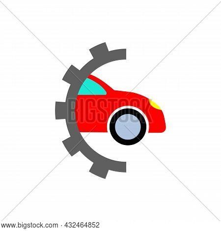 Service Station Or Half Gear And Car Color Icon. Tire Service Center. Repair And Maintenance. Vehicl