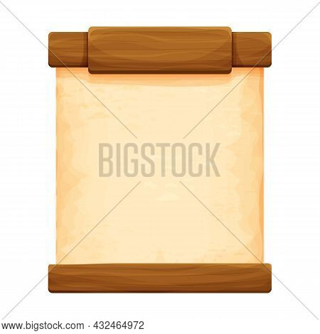 Wood Planks With Parchment Paper In Cartoon Style Isolated On White Background. Frame, Medieval Pane