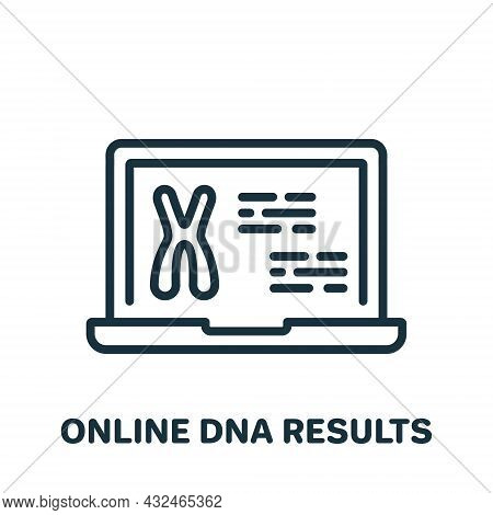Online Dna Test Result On Laptop Screen Line Icon. Genetic Information On Computer Linear Pictogram.