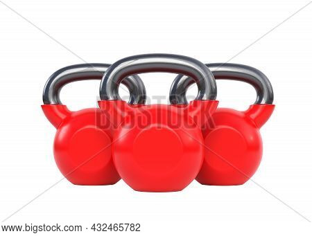 Three Red Kettlebell Over White Background. Heavy Weights. Gym And Fitness Equipment. Workout Tools.