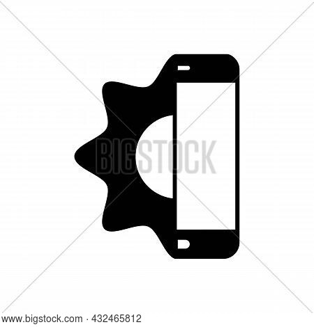 Repair Service And Maintenance Of Smartphones Solid Black Icon. Half Phone With Gear. Trendy Flat Is